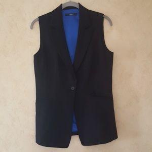 Black Tahari sleeveless vest with blue lining